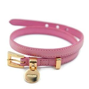 Prada Saffiano Signature Logo Charm Wrap Bracelet